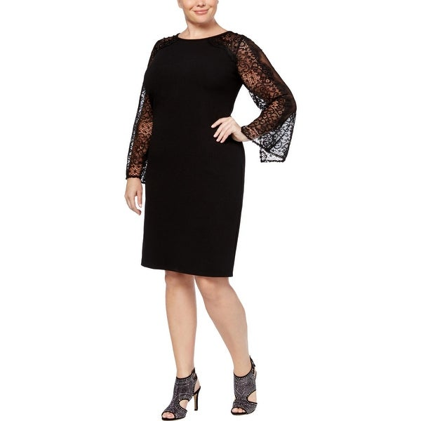 Alex Evenings Womens Plus Cocktail Dress Lace Slit Sleeve