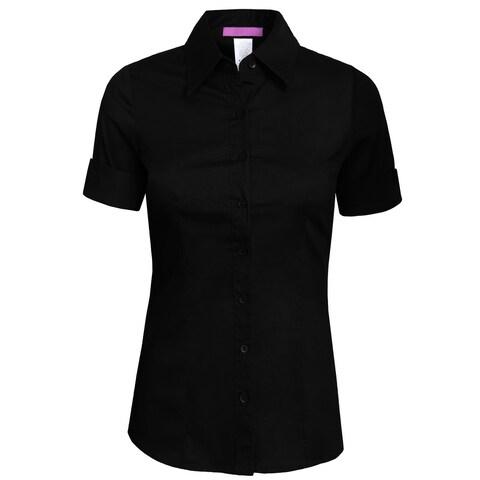 NE PEOPLE Womens Tailored SHORT Sleeve Button Down Shirt