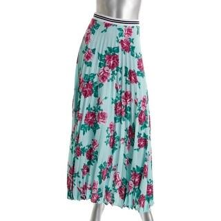 Silva Womens Floral Print Knife Pleat Maxi Skirt - M