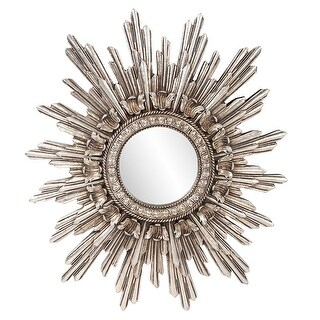 "Delacora HE-84008  Chelsea 23"" x 20"" Sunburst Flat Polyresin Framed Modern Accent Mirror - Antique Silver Leaf"
