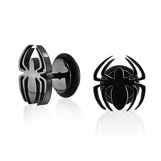 Bling Jewelry Surgical Steel Black Spider Fake Cheater Plug Earrings 16G