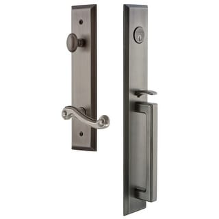 "Grandeur FAVDGRNEW_ESET_234_RH  Fifth Avenue Solid Brass Rose Right Handed Keyed Entry Single Cylinder Full Plate ""D"" Grip"