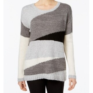 Two By Vince Camuto NEW Gray Women Large L Colorblock Scoop Neck Sweater