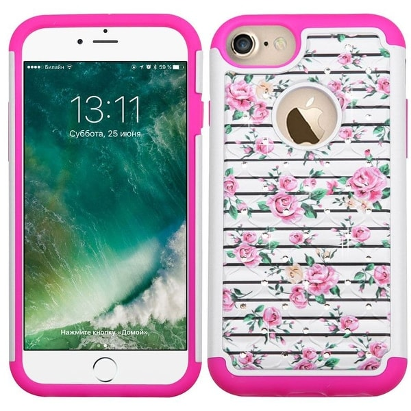Insten Pink/ White Fresh Roses Hard PC/ Silicone Dual Layer Hybrid Rubberized Matte Case Cover with Diamond For Apple iPhone 7