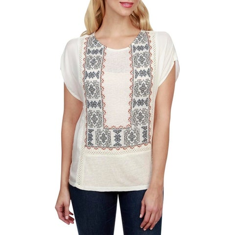 Lucky Brand Womens Blouse Embroidered Mixed Media