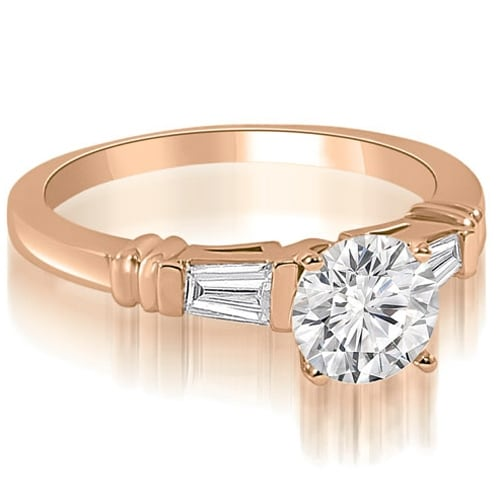 1.00 cttw. 14K Rose Gold Round Baguette Three Stone Diamond Engagement Ring