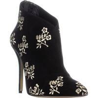 Oscar de la Renta P1717122 Pointed Toe Ankle Boots, Black/Gold
