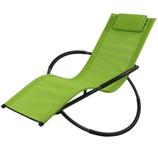 Sunnydaze Orbital Folding Zero Gravity Rocking Lounger w/ Pillow - Multiple Colors Available