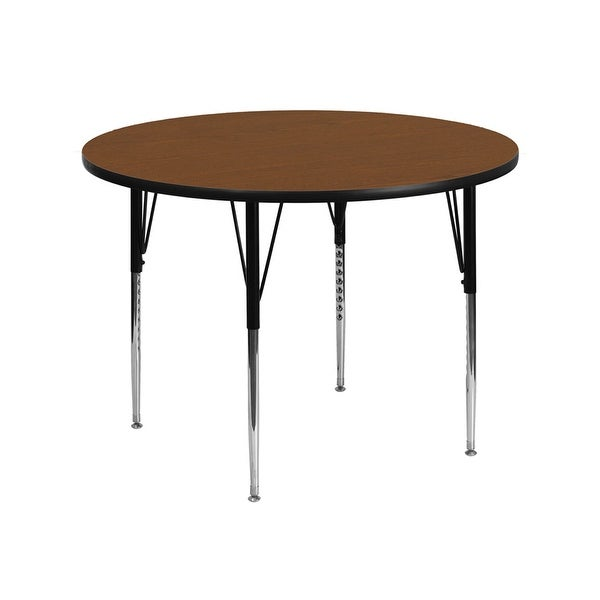 Offex 42'' Round Activity Table with 1.25'' Thick High Pressure Oak Laminate Top and Standard Height Adjustable Legs - N/A