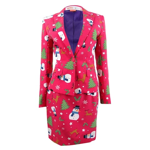 OppoSuits Women's One-Button Printed Holiday Skirt Suit (8, Christmiss) - Christmiss - 8