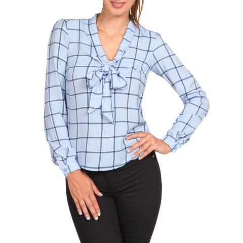 97cbbd3e NE PEOPLE Womens Cuffed Sleeve Plaid Printed Front Tie Bow Blouse Tops