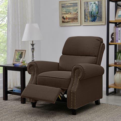 Copper Grove Jessie Brown Linen Push Back Recliner Chair