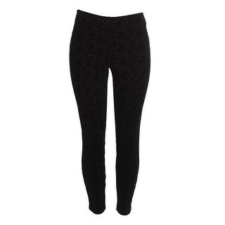 Maison Jules Classic Black Flocked Skinny Pant Leggings M