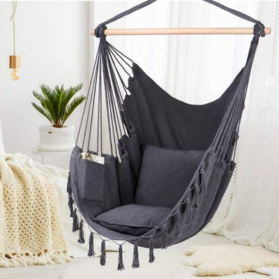 Hanging Hammock Chair, Quality Cotton Weave For Comfort Durability