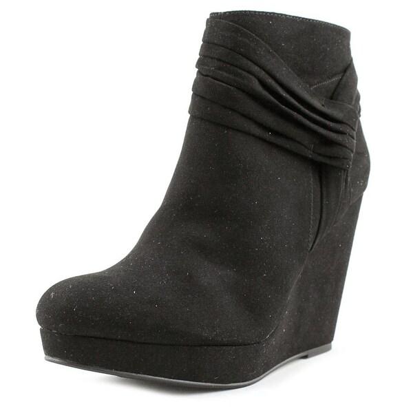Thalia Sodi Chelaa Women Round Toe Suede Black Bootie