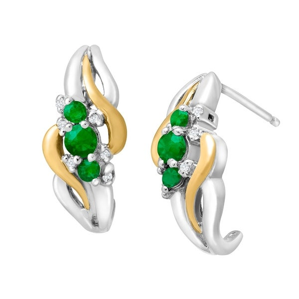 3/8 ct Emerald Half-Hoop Earrings with Diamonds in Sterling Silver & 14K Yellow Gold - Green