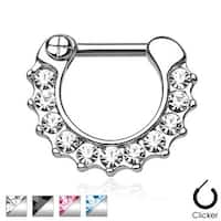 Gem Paved 316L Surgical Steel Septum Clicker Ring (Sold Indiv.)