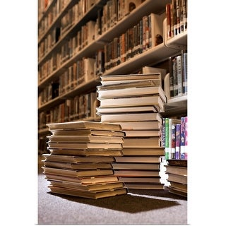 """""""Stacks of books in library"""" Poster Print"""