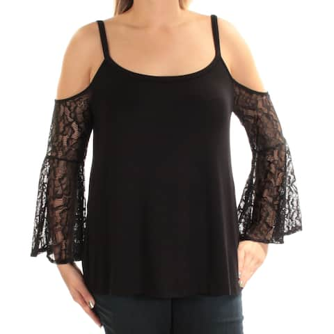 KENSIE Womens Black Cold Shoulder Lace Bell Sleeve Scoop Neck Top Size: L