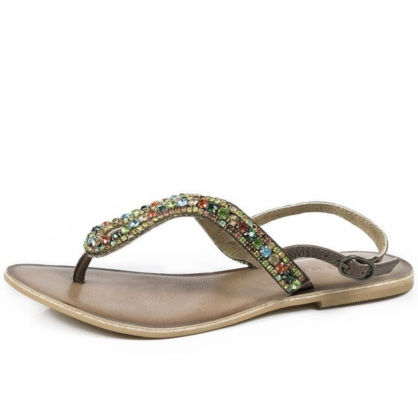 Roper Western Shoes Womens Crystal Thong Sandal