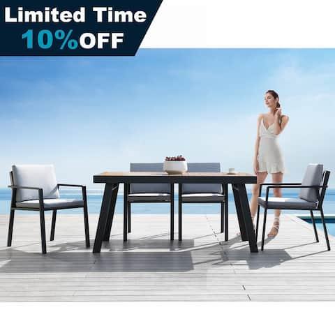 Higold Nofi 7 Pieces Outdoor Dining Set with Grey Cushions, Matte Charcoal Aluminum Frame, Imitated Teak Aluminum Tabletop