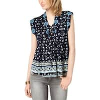 Lucky Brand Womens Tank Top Lace-Up Pleated