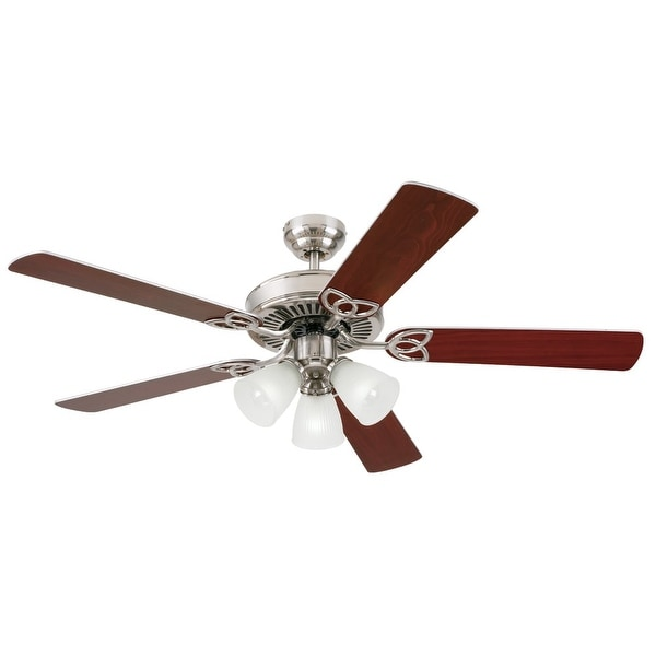 "Westinghouse 7867865 Vintage 52"" 5 Blade Hanging Indoor Ceiling Fan w/ Reversible Motor, Blades, Light Kit, & Down Rod Included"