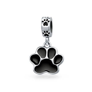 Bling Jewelry 925 Silver Black Enamel Dog Paw Animal Dangle Bead Charm