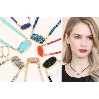 RIAH FASHION Druzy Quarts Crystal Bead Necklace and Stud Earrings Set