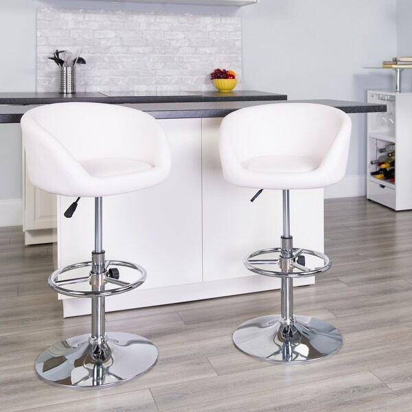 """Contemporary Adjustable Height Barstool with Barrel Back and Chrome Base - 21""""W x 18.5""""D x 32.5"""" - 41""""H. Opens flyout."""