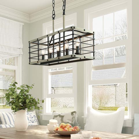 """Rustic Chandelier 5-lights Kitchen Island Lighting for Dining Room - L22""""xW8.5""""xH17"""""""