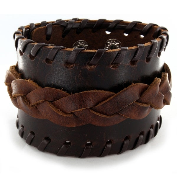 Men's Brown Leather Wide Weaved Bracelet with Adjustable Snap Closure (47 mm) - 7.5 in