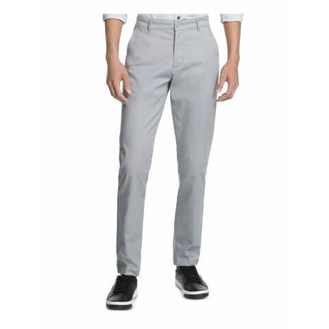 DKNY Mens Psnts Gray Size 38X30 Straight Tapered Leg Chino Stretch