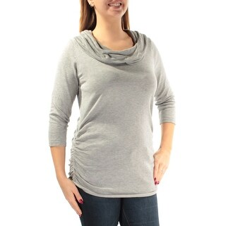 Womens Gray 3/4 Sleeve Cowl Neck Casual Top Size L
