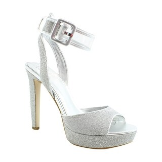 GUESS Womens Catana Silver Ankle Strap Heels Size 8