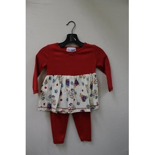 Jojo Belle Toddler 2 Piece Solid/Printed Holiday Shirt Dress with Leggings - Red
