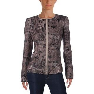 Lafayette 148 Womens Jacket Metallic Printed