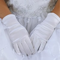 Angels Garment Baby Girls White Short Stylish Flower Girl Gloves