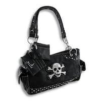 Embossed Paisley Rhinestone Skull and Crossbones Concealed Carry Purse