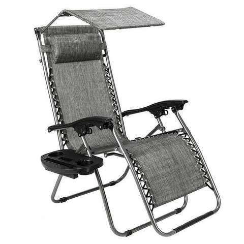 Zero Gravity Folding Patio Lounge Beach Chairs w/ Canopy Magazine Cup Holder Awning