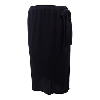 bdd7059d23 Shop Alfani Women's Faux-Wrap Midi Skirt (XXL, Deep Black) - Deep Black -  XXL - Free Shipping On Orders Over $45 - Overstock - 28019176