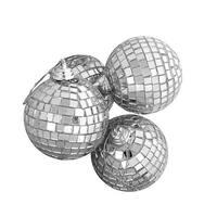 "4ct Silver Splendor Mirrored Glass Disco Ball Christmas Ornaments 4"" (100mm)"