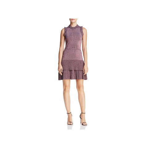 Parker Womens Party Dress Ruffled Textured