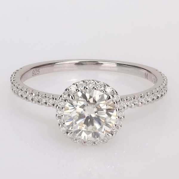 Miadora Sterling Silver 1 1/4ct TGW Created Moissanite Halo Engagement Ring. Opens flyout.