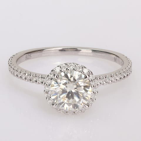 Miadora Sterling Silver 1 1/4ct TGW Created Moissanite Halo Engagement Ring