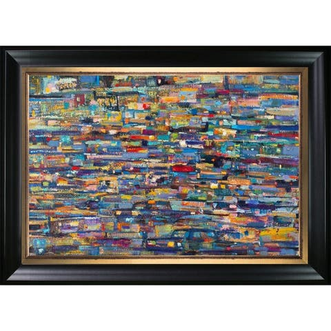 """ArtistBe Fires of the Big City with Black Matte King and Piccino Luminoso Custom Stacked Frame, 33"""" x 45"""""""