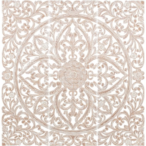 Luzie Floral Hand Carved Light Brown Wooden 48x48-inch 3-Panel Wall Art