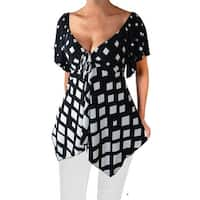 Funfash Plus Size Black White Empire Waist A Line Top Shirt Blouse