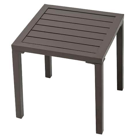 """Outdoor Aluminum Square Side/End Table Small Patio Coffee Bistro Table - 15.75"""" L x 15.75"""" W x 15.95"""" H"""