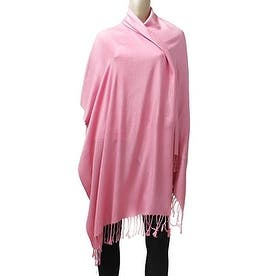 Classic Silk Blend Pashmina Large Scarf Shawl with Fringe Tassels